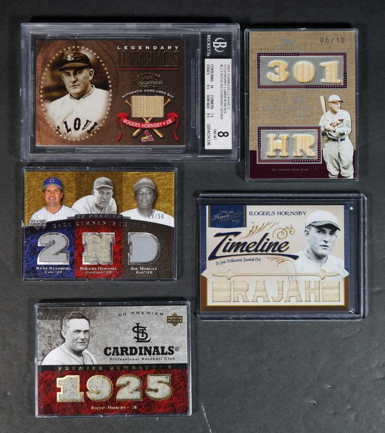 Rogers Horsby Game-Used Relics BB Cards (5)