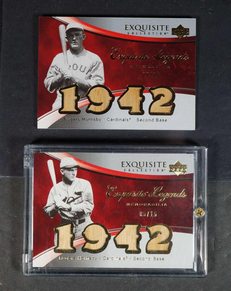 Rogers Hornsby Game-Used BB Bar Cards (2)