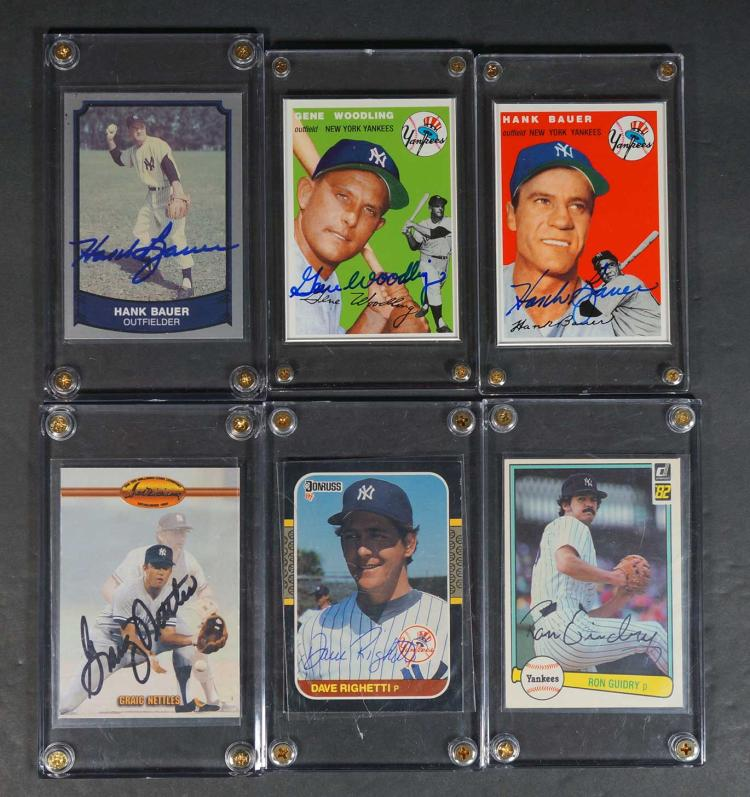 New York Yankees Autographed Baseball Cards (6)
