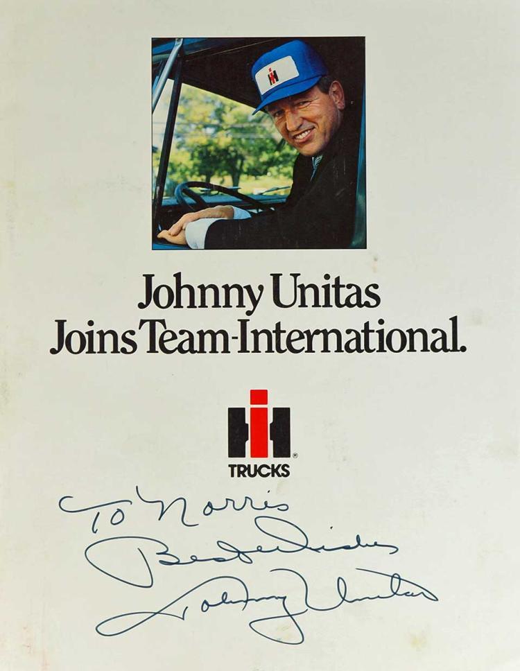 Johnny Unitas Autographed Truck Brochure