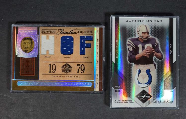 Johnny Unitas Game-Worn Relice Football Cards (2)