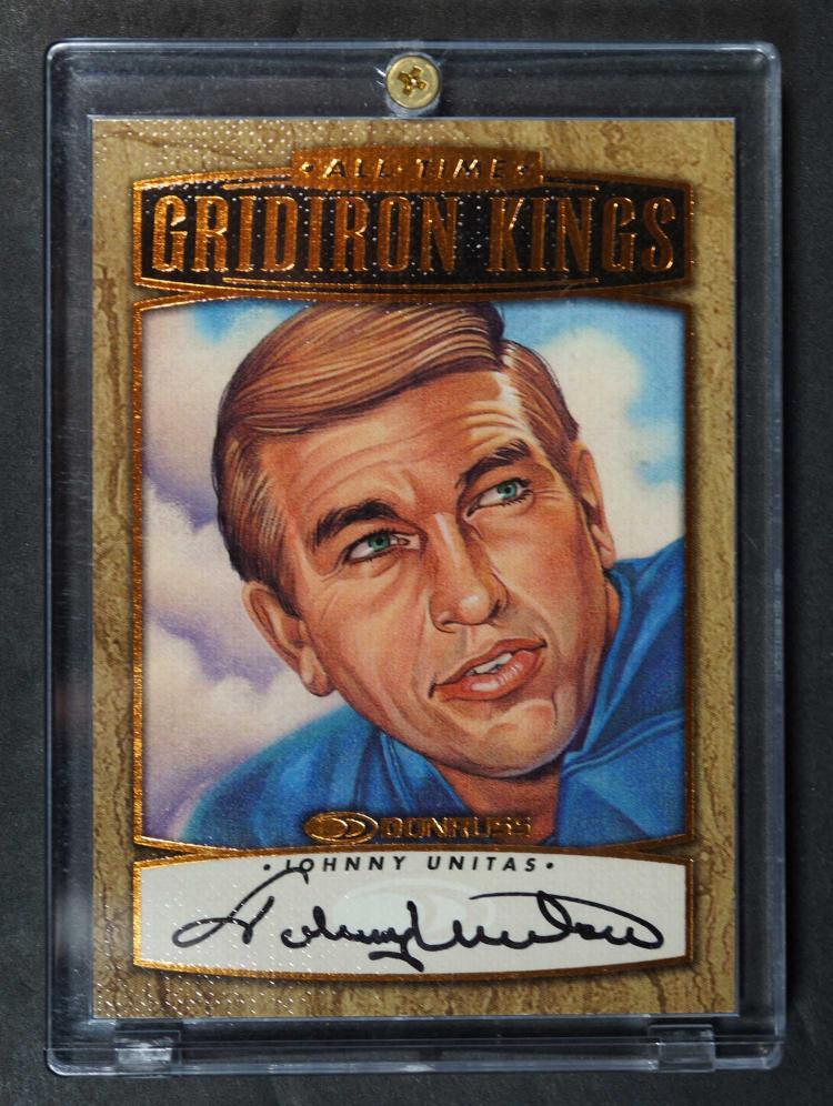 Johnny Unitas Autographed Football Card