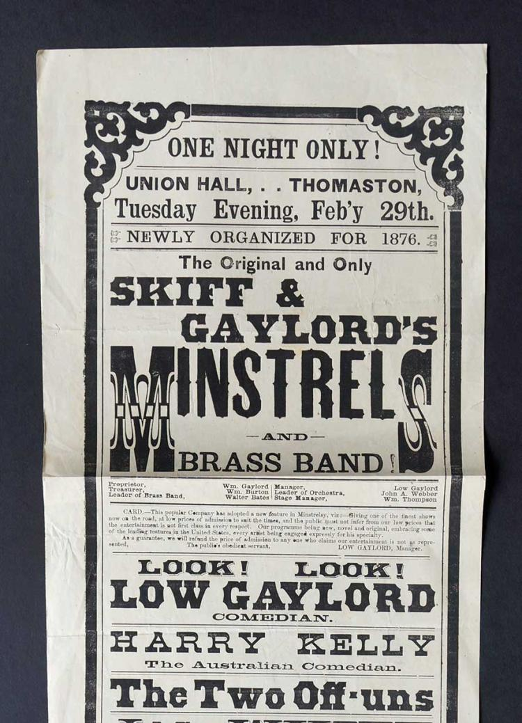 1876 Broadside [Skiff & Gaylord's Minstrels]