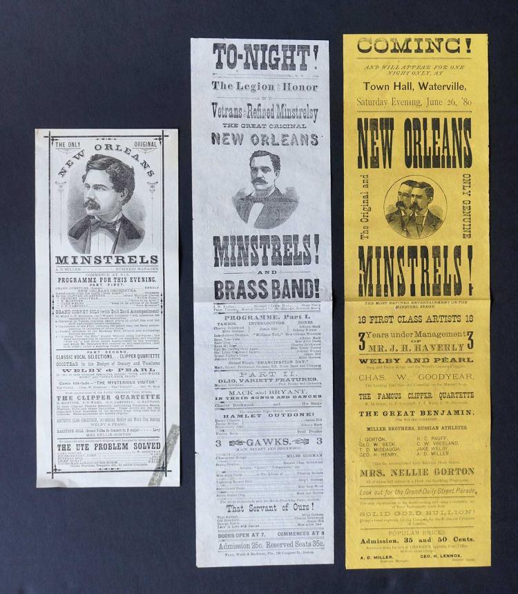 Three 19th C. Broadsides [New Orleans Minstrels]