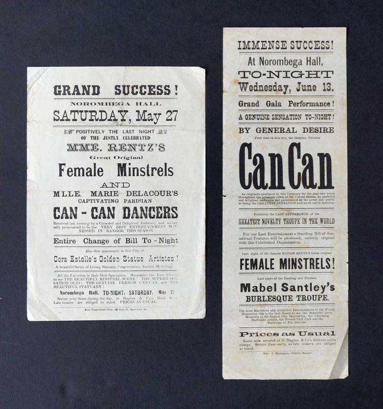 Pair 19th Century Handbills [Can-Can Dancers]