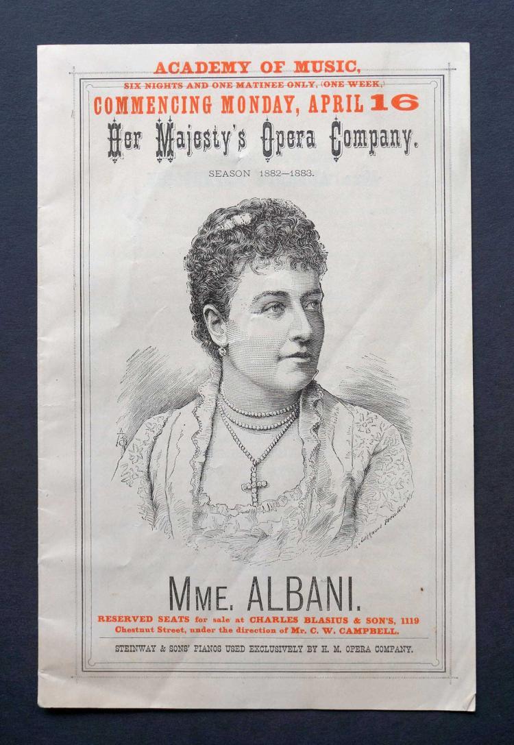 1882-83 Madame Albani Opera Program