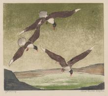 Alice Pauline Schafer Linocut [Birds in Flight]