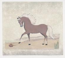 Alice P. Schafer Linocut [Horse, Horseshoe Crab]