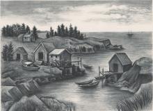 Isaac J Sanger Lithograph [WPA, New England Coast]