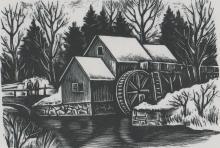 Isaac J. Sanger Woodcut [WPA, Blue Ridge Pkwy, VA]