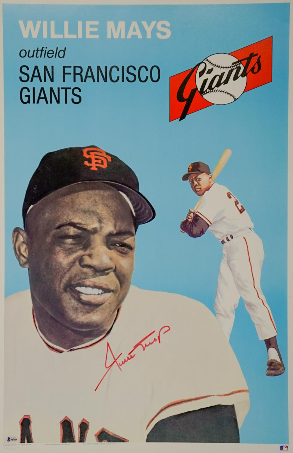 Willie Mays Signed Large Card Print BAS COA