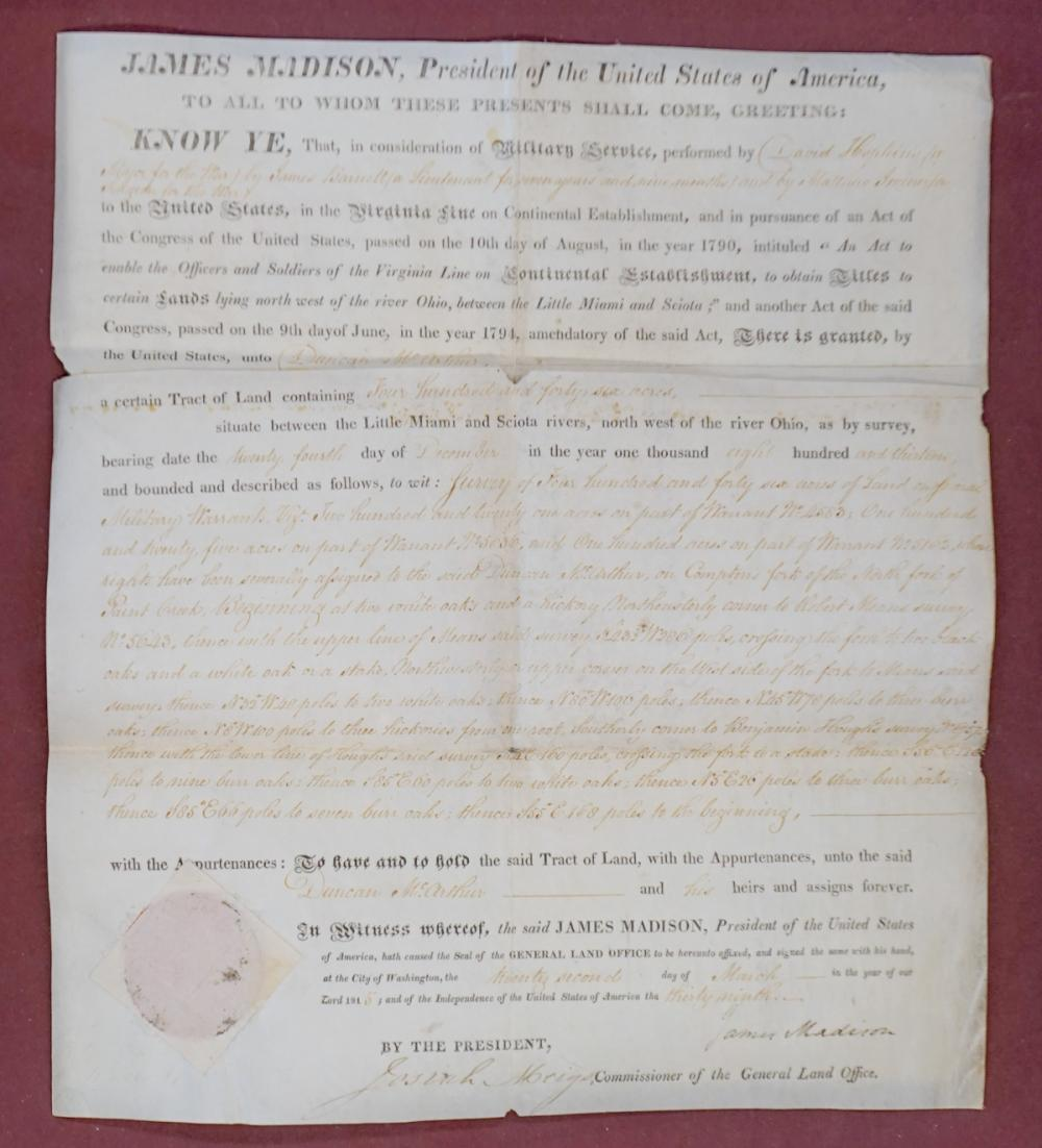 James Madison Land Grant to Duncan McArthur