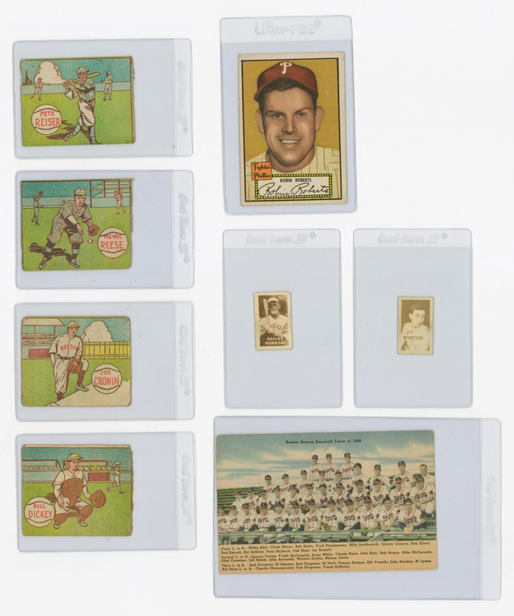 Group of Vintage Baseball Cards and Postcard
