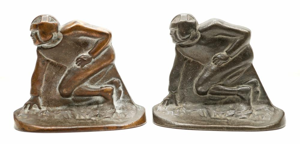 Vintage Signed Bronze Football Bookends