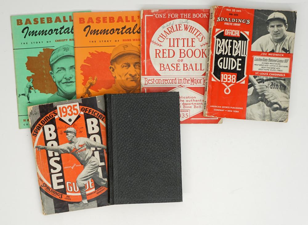 Six Vintage Baseball Guidebooks and Biographies