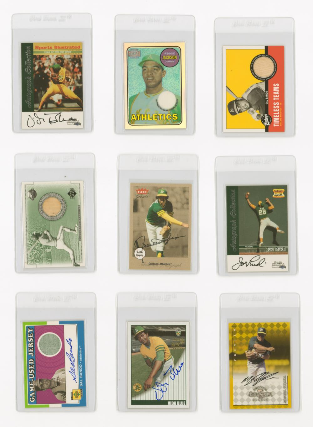 Oakland A's Autographed and Game-Worn Cards (9)