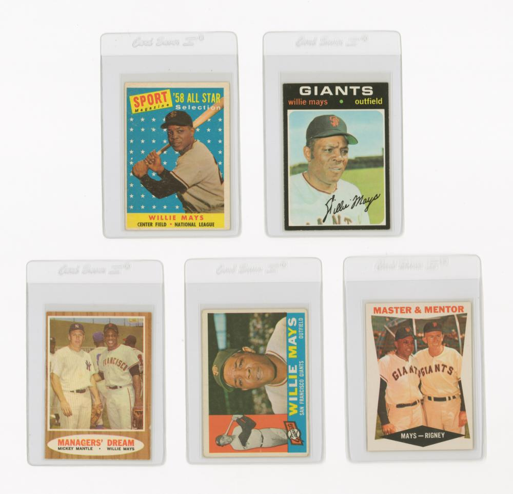 Willie Mays Vintage Baseball Cards (5)