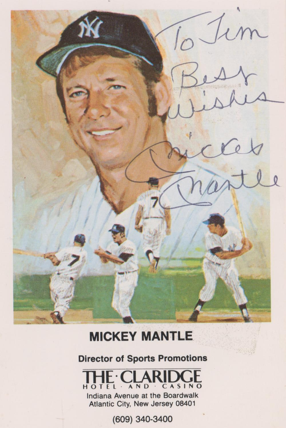 Mickey Mantle Signed Color Postcard Beckett LOA
