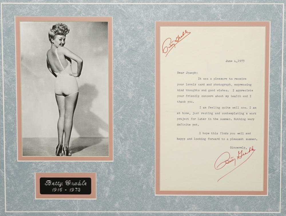 Betty Grable Signed Letter PSA/DNA LOA