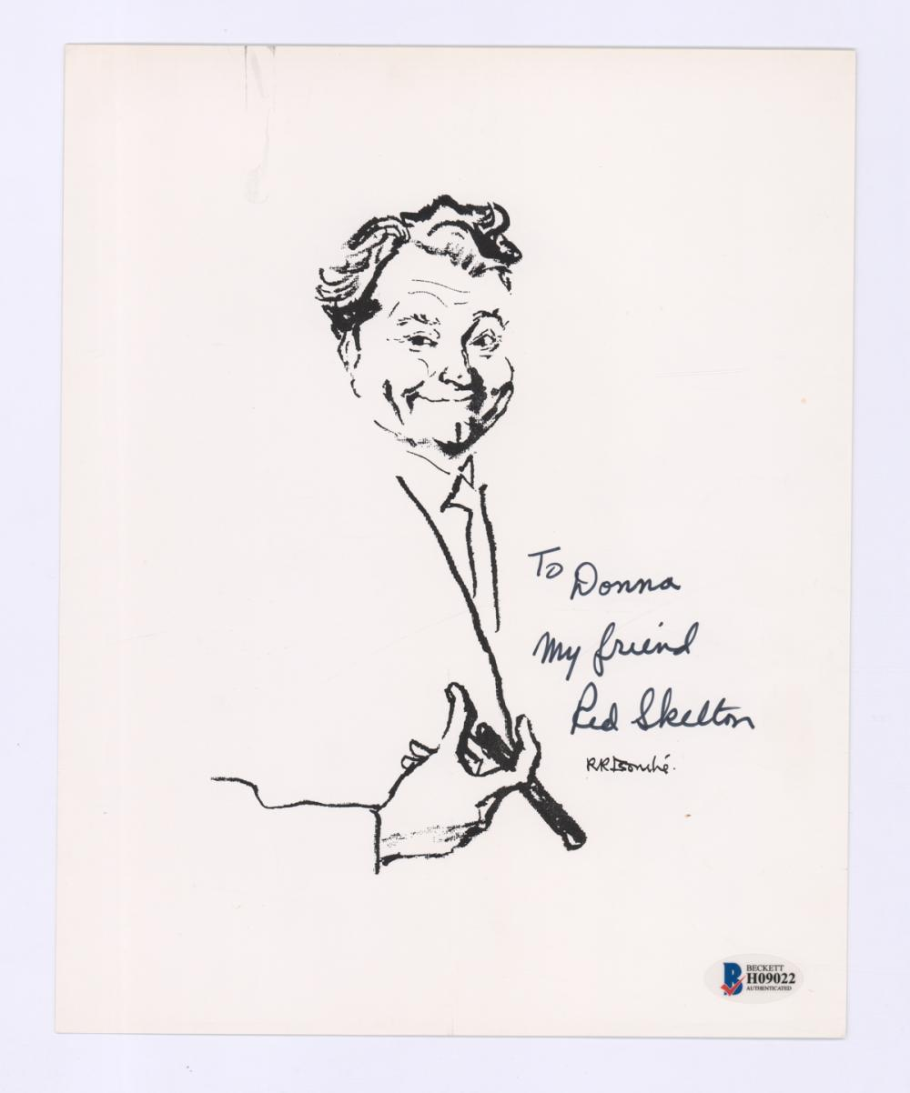Red Skelton Signed Black and White Print BAS COA