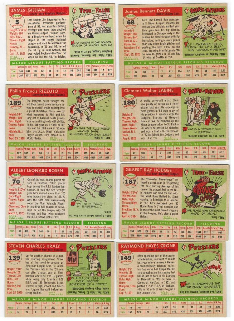 1955 Topps Baseball Cards 180 Set Building