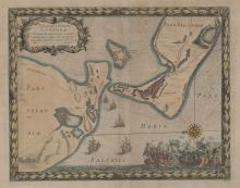 17th century Colored Map Corsora Dated 1659