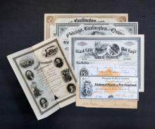 Group of Antique Stock Certificates, Railroad, etc