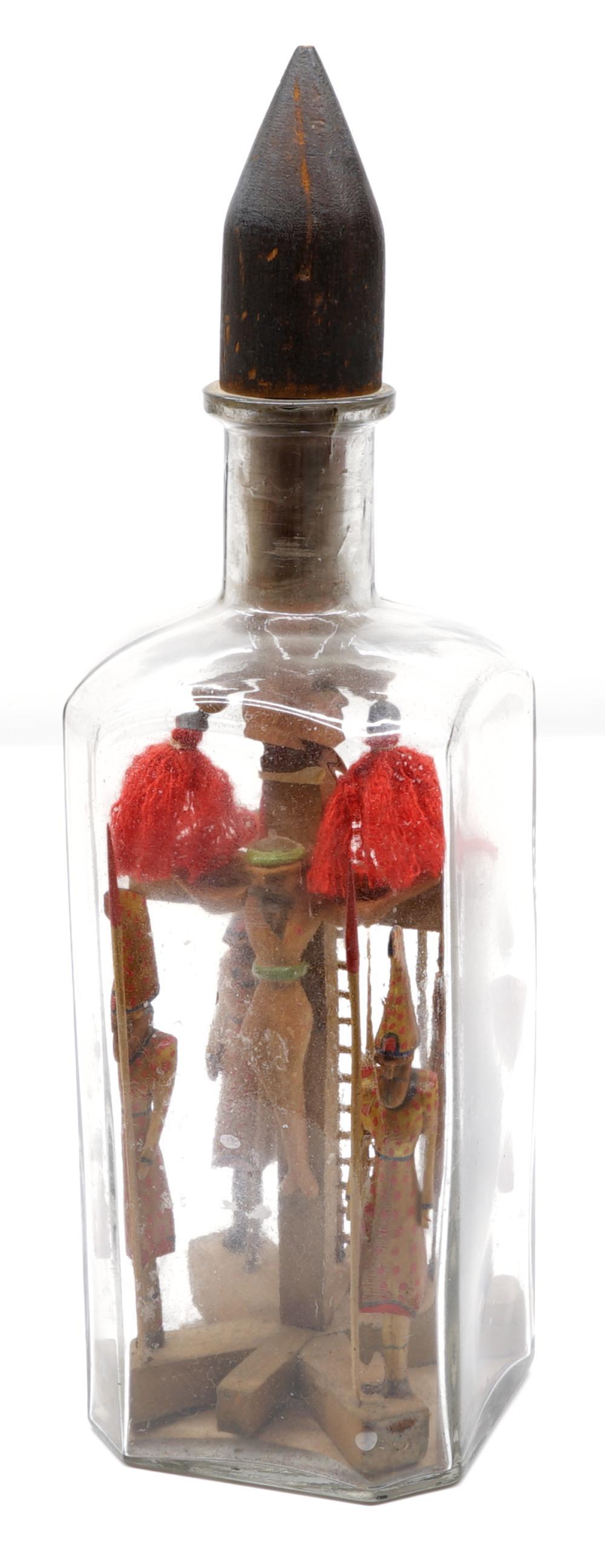 Folk Art Carved Crucifix in a Bottle