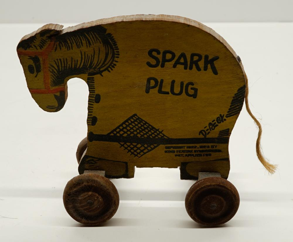 Lot 16: Antique Wood Barney Google Spark Plug Pull Toy
