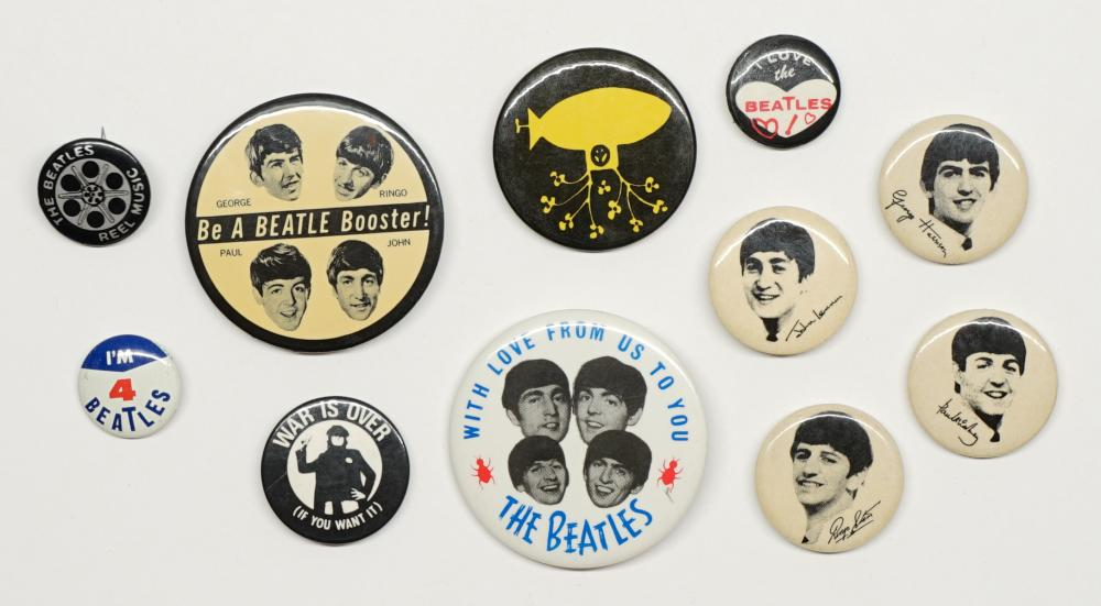 Lot 141: The Beatles Pinback Buttons (11)