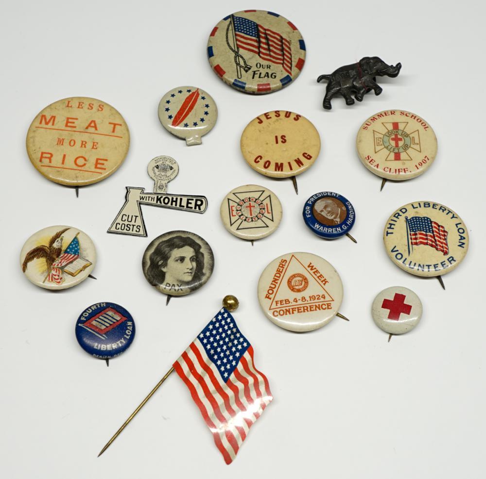 Lot 182A: [Political, Religious, Patriotic] Pinback Buttons