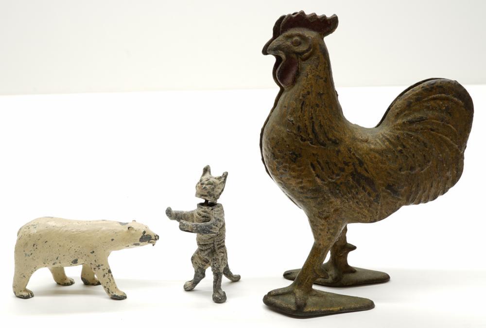 Lot 182: Three Antique Still Banks and Lead Animals