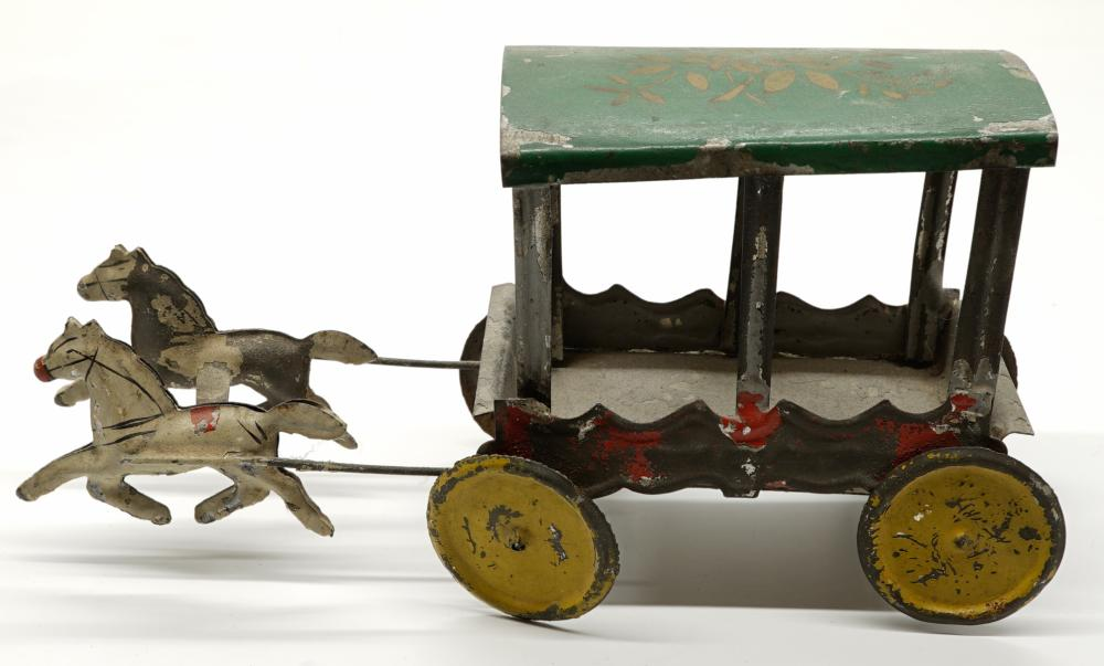 Lot 218: Early Tin Horse-Drawn Toy