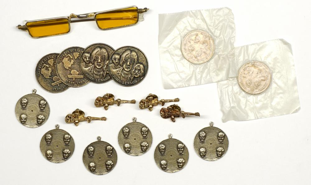 Lot 237: Beatles Tokens, Charms and Pins