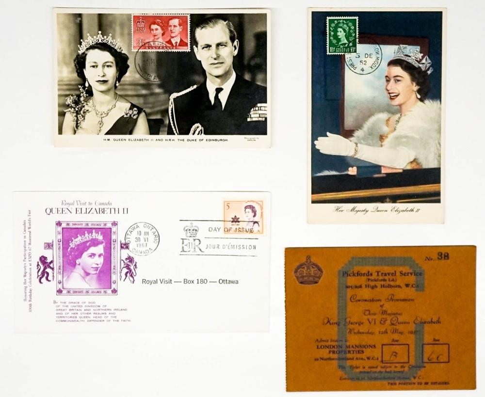 Lot 278: Queen Elizabeth Postcards and Cover with Stamps