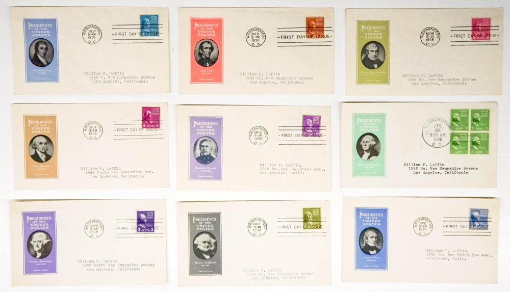 Lot 280: 1938 U.S. Presidents First Day Covers FDC (18)