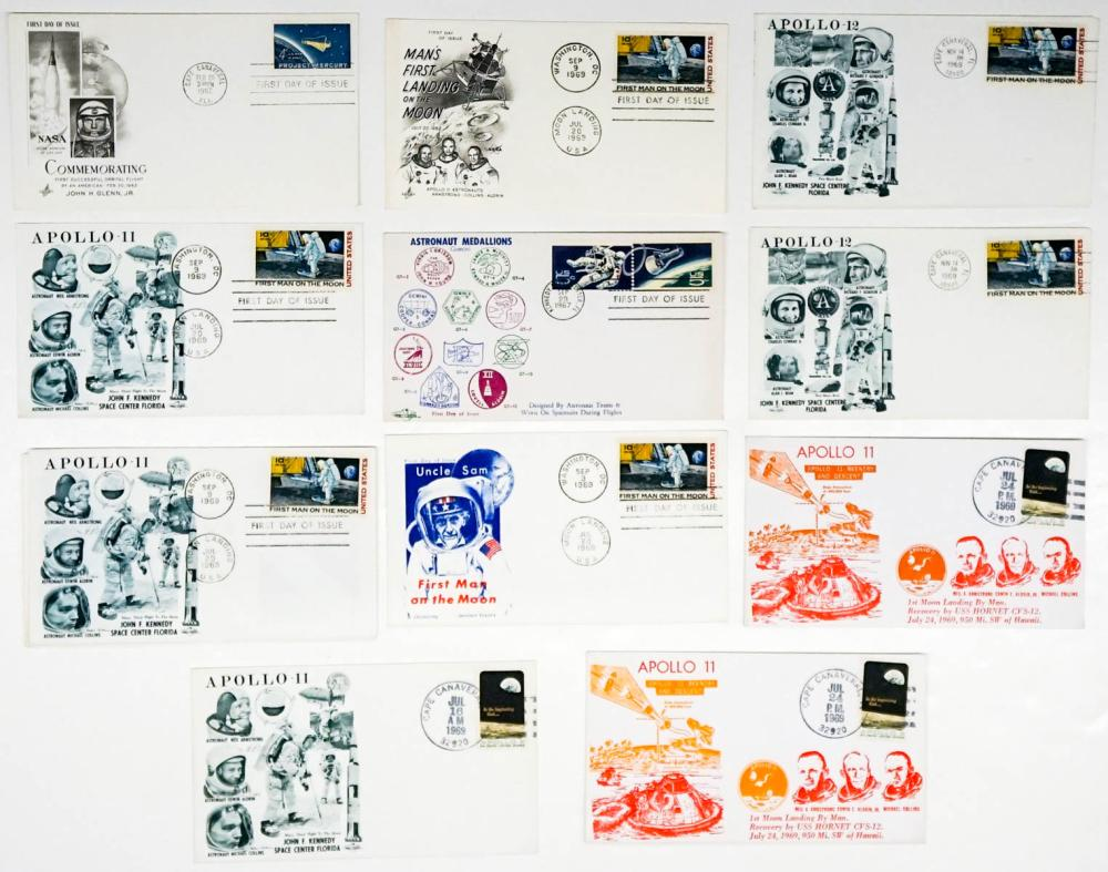 Lot 279: NASA Space First Day Issue Covers (12) FDC