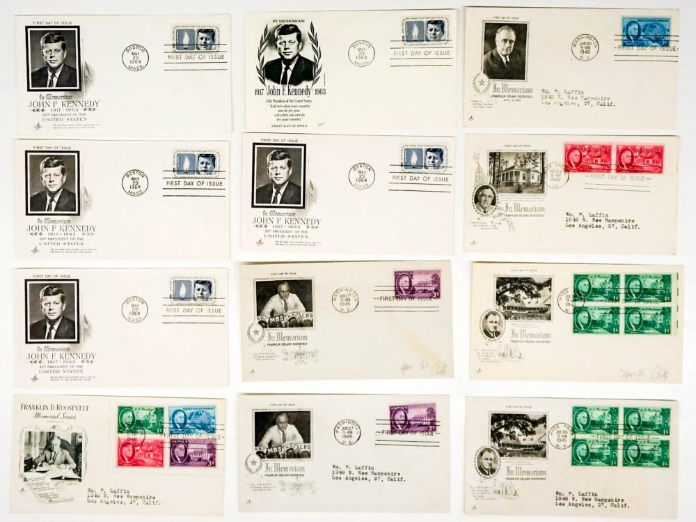 Lot 283: JFK and FDR In Memoriam First Day Covers (12)