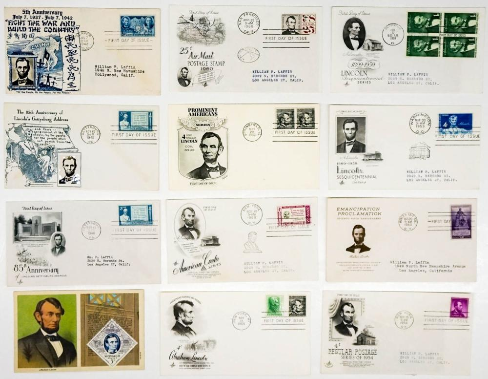 Lot 284: Abraham Lincoln 1940-1966 First Day Covers (12)