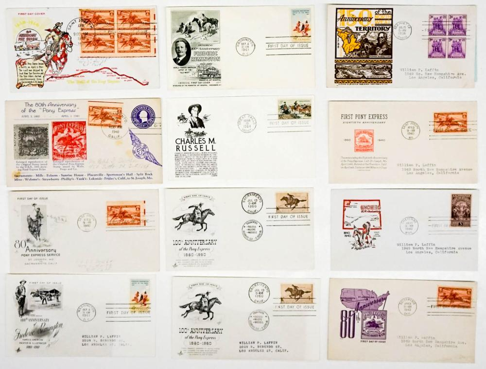 Lot 285: Pony Express and Western Art First Day Covers (12)