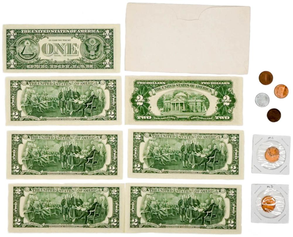 Lot 390: Six UNC U.S. $2 with Cover and more