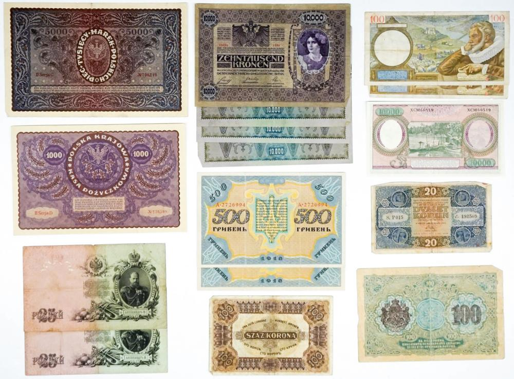 Lot 435: (16) Large Foreign Banknotes and Currency