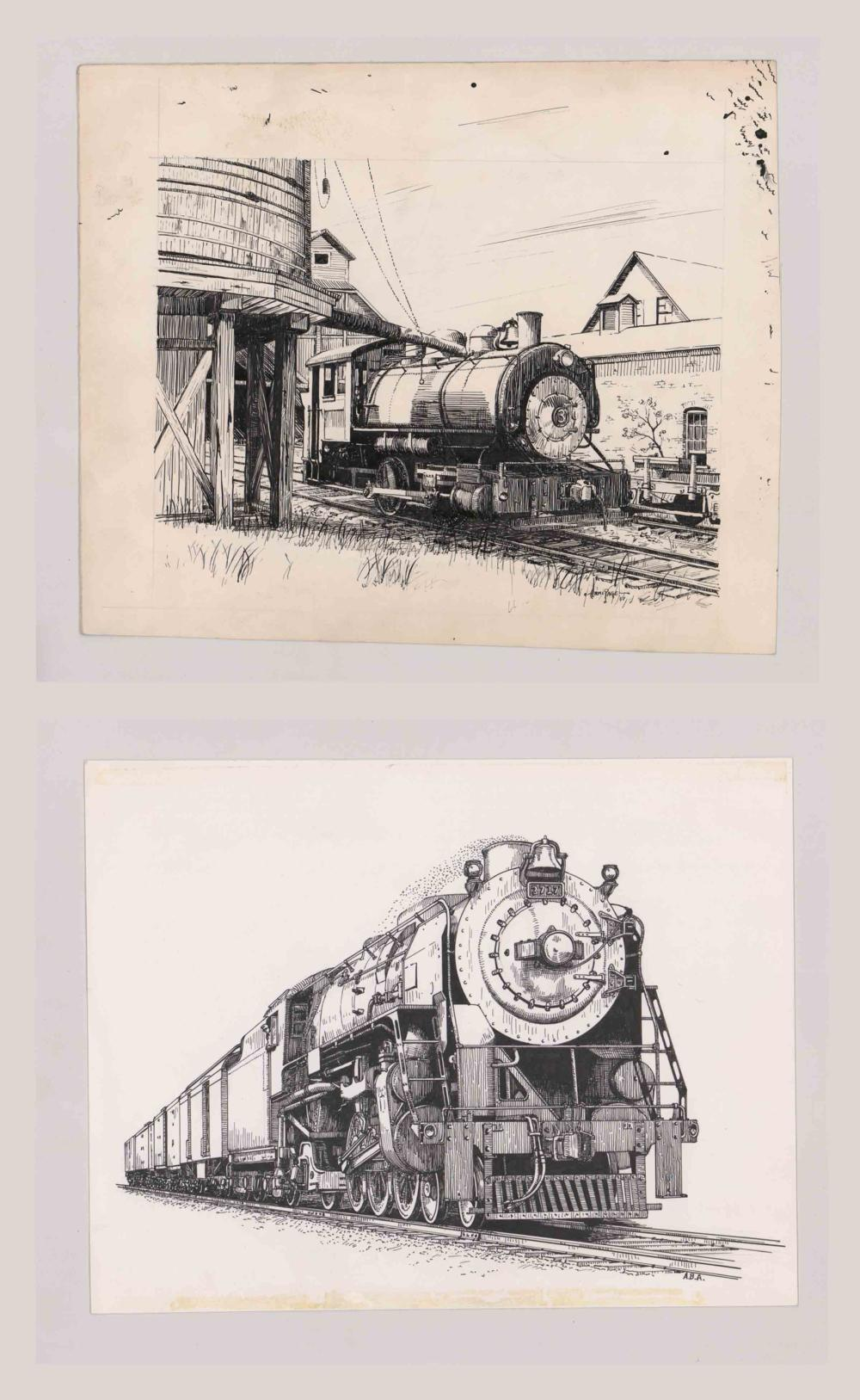 Lot 538: Al Armitage Original Pen and Ink Drawings [Trains]