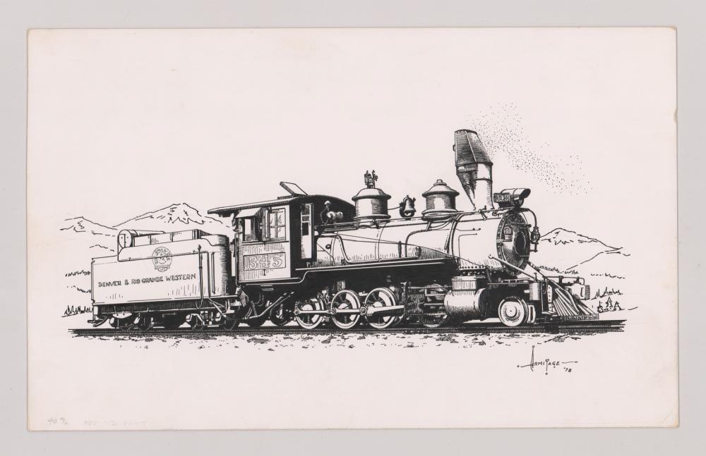 Lot 534: Al Armitage Original Pen and Ink Drawing [Trains]