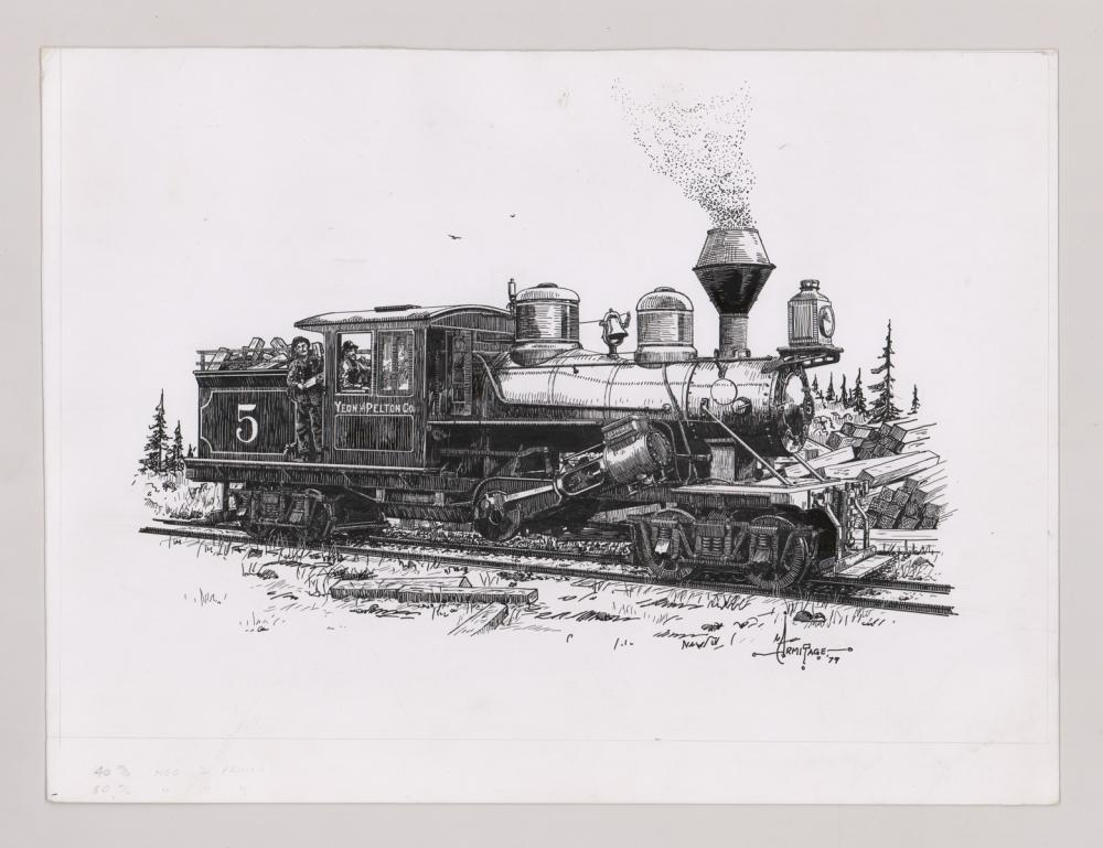 Lot 537: Al Armitage Original Pen and Ink Drawing [Trains]