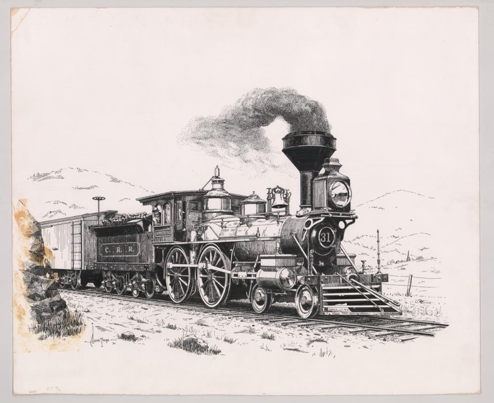 Lot 532: Al Armitage Original Pen and Ink Drawing [Trains]