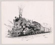 Lot 530: Al Armitage Original Pen and Ink Drawing [Trains]