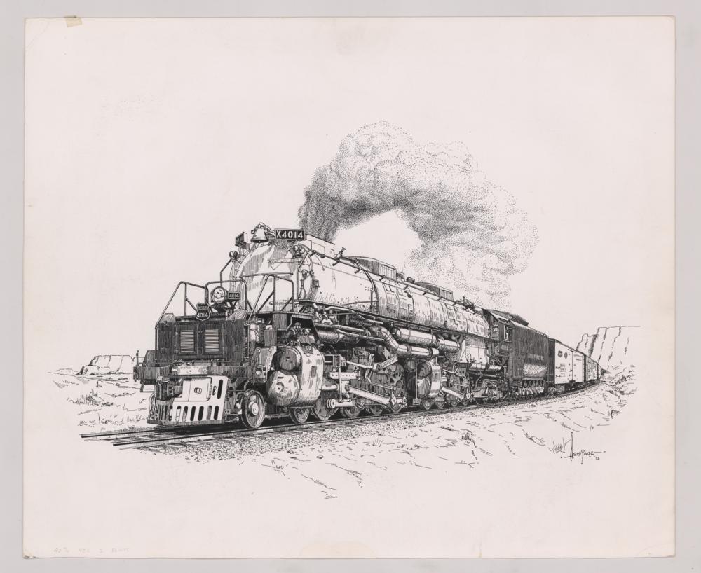 Lot 533: Al Armitage Original Pen and Ink Drawing [Trains]