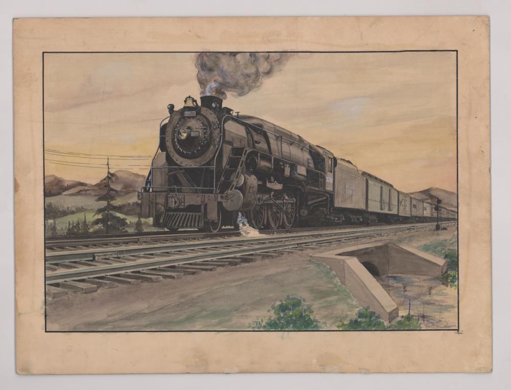 Lot 543: Al Armitage Original Watercolor Painting [Trains]