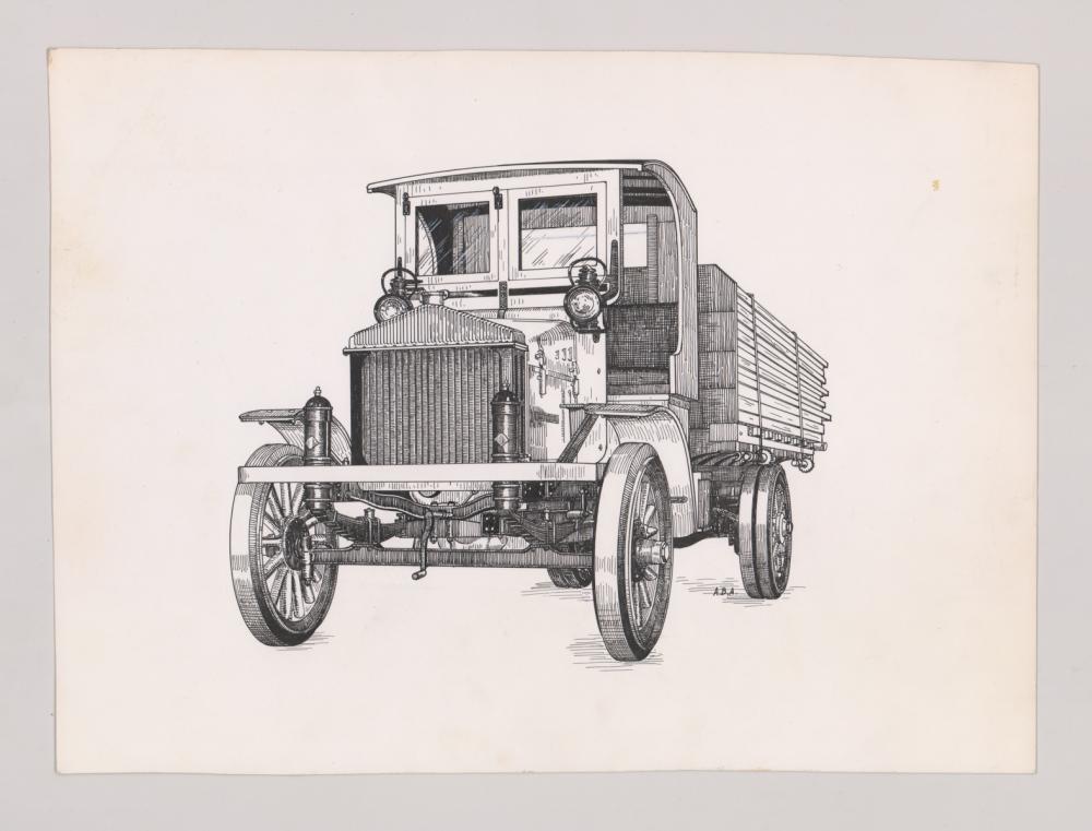 Lot 542: Al Armitage Original Pen and Ink Drawings [Truck]